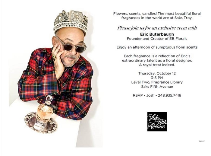 EB Florals Founder Eric Buterbaugh at Saks Fifth Avenue