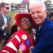 Millie Hall and Vice President Joe Biden. Hall, president, Metro-Detroit, Coalition Labor Union Women (CLUW), is helping lead efforts to recruit, mentor and support women in skilled trades