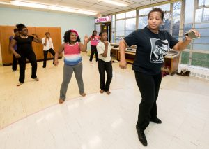 "Programs like BHC participant Timbukto Academy's ""Fit Fusion"" are already helping to get kids more active. ""Mama Zeina"" leads the Fit Fusion group dance. Pictured (from left) are Tacarra Freeman, Alaya Thomas, Iyanna Kirk, Mercedes Robinson, Shamaya Richburg-Moses, and Dasia Farmer-Williams. Photo: Paul Engstrom"