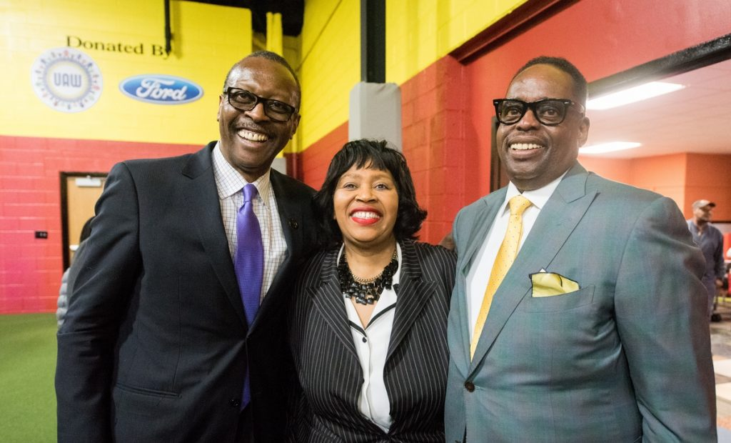 """L-R: Herb Strather, Strather and Associates who gifted the building, Detroit City Council President Brenda Jones, UAW VP James """"Jimmy"""" Settles, Jr."""