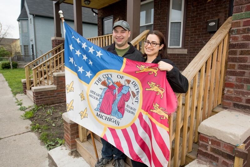 Detroit homeowners Jon Zemke and Kristin Lukowski show their city love.