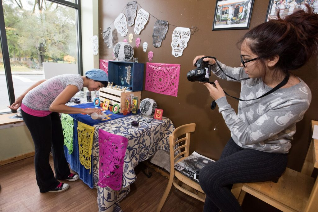 Artist Kia  Arriaga and her daughter Alexia Trevino (15)  Photo: Paul Engstrom