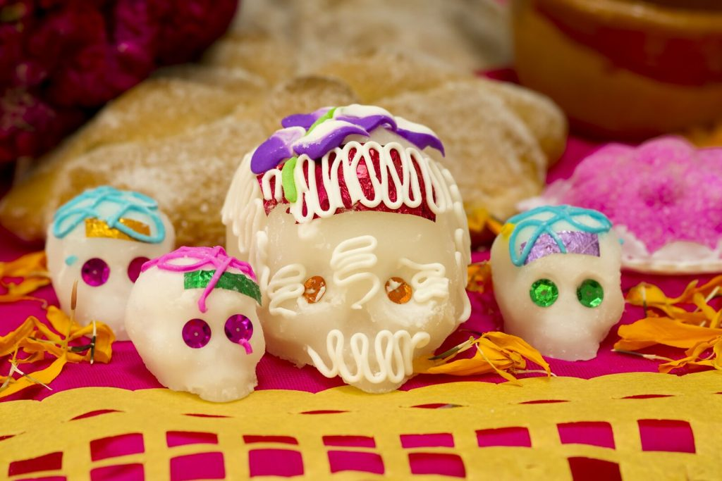 Skeletons are common in Southwest Detroit during the holiday as are  sugar skulls and other edible treats.