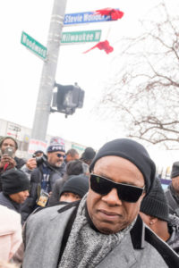 Stevie Wonder leaves corner of Woodward and Milwaukee Avenues after ceremony renaming Milwaukee in his honor. Detroit renamed Milwaukee Avenue in Stevie Wonder's honor in ceremony near corner of Woodward Avenue.